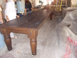 This restored piece will serve as the conference room table in the Pioneer Woman Building.
