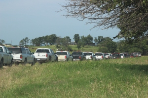 Trucks lined up for the OCCA Ranch Tour approach 3A Beefmaster's, which was the first ranch tour stop.