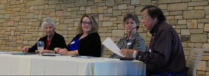 Charlotte Ashworth, Green Country Mktg. Dir. of Sales, Kimberly Noe-Lehebauer, Advertising Oklahoma Travel and Recreation Dept., Trisha Kerkstra, POSTOAK Lodge Mgr. and Osage County Tourism Board  President, Eddy Red Eagle, Jr., Osage Elder and OCTB member and Osage Industrial Authority Bd. member.